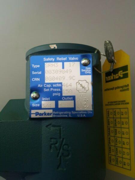 Parker Refrigeration relief valve Srh3 3/4in Inlet 1in Outlet